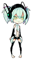 anime GLaDOS stands awkwardly and blinks by catfinches