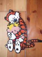 Calvin and Hobbes hugging made of beads by capricornc5