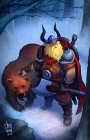 Viking and his pet bear by geeshin
