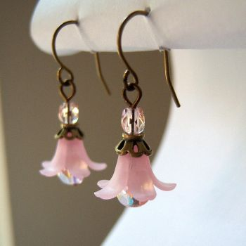 Pink and Bronze Lily Earrings by lulabug