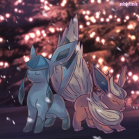 Glacia | Glaceon and Booster | Flareon Commission by AutobotTesla