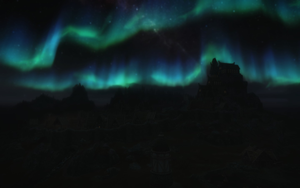 Night sky above Whiterun by TheSpiritOfTheWoods