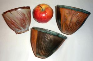 Brown and Green Grassy Carved Bowl set by ColoradoPotter