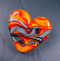 Sunset Sedona Lampwork Heart Bead by andromeda