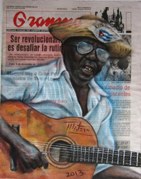 Mambi tocando la guitarra by AL1970ART