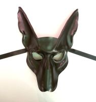 Black Jackal or Pharaoh Hound Leather Mask Anubis by teonova