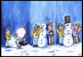 The making of the snowman by Anhinga