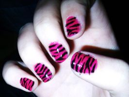 pink Zebra Nails by maga-a7x