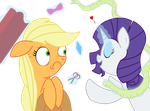 Rarity and Apple Jack by TwitchyTail