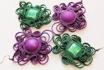 Earrings violet and emerald soutache by GosiaBizu