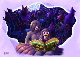 Fiona Frightening Commission 5 - Bedtime Story by Blue-Paint-Sea