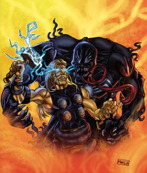 Ultimate Thor Vs Venom by Manuz-Ise