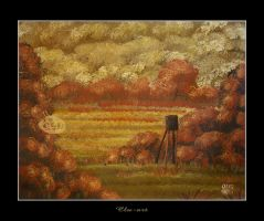 Hunting Stand in Fall by Clu-art