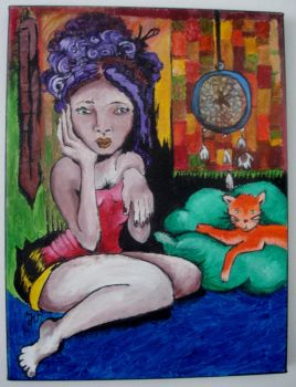 Esoteric Woman with Cat by Jennyvipetchka