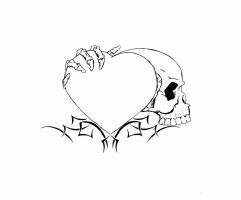 Heart skull Tattoo unfinished by Nomad55