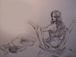 2 female drawings (pen) by Gleb-Vo