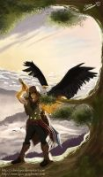 Com - A warrior and his eagle by ClaireLyxa