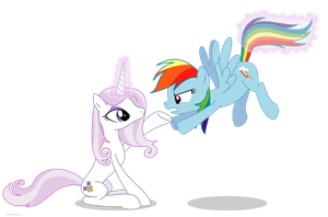Fleur the posing pony and Rainbow Dash - PNG by Larsurus