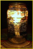 Bible Candle Holder Lit by Bonniemarie