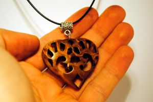 Wooden heart pendant by JOVictory