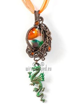 Orange and green dragon charm pendant by ukapala
