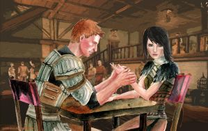 Alistair and Amell by GoldKanet