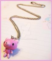 Pink Gloomy Bear Necklace by cherryboop