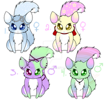 Sugar Stri Adopts 1-4 CLOSED (Closed Species) by CandiGhoul
