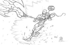 Spider-man being dragged by super man commission by JoeyVazquez