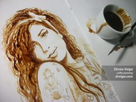 Amy Winehouse Portrait - Coffee Art by D. Veiga. by FastIcon