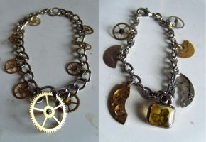 Steampunk charm bracelets by Hiddendemon-666