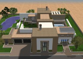 Sims 2 Large modern mansion by RamboRocky