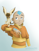 Aang and Momo by artbox99