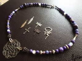 Violet and Lavender Beaded Charm Necklace by LadyFitz