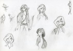 Katniss Sketches by Whisperwings