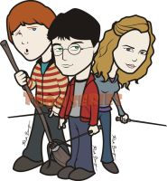 Harry Potter,Rony and Hermione by toonseries