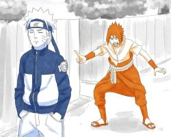 Switched Sasuke and Naruto by steampunkskulls