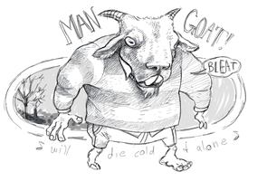 MAN GOAT WALKS THE LONELY PATH by snoozlebee