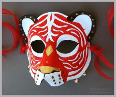 Ribboned Circus Tiger - Leather Mask by windfalcon