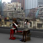 Lunch on a rooftop with Pidgeons by nitehawk-ltd