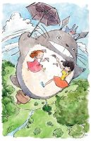 Flying with Totoro by AmeliaDDraws