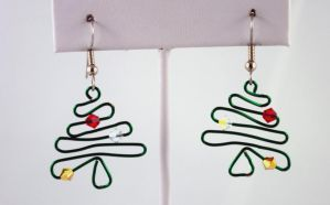 Wire Wrapped Christmas Tree Earrings by michelleaudette