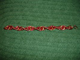Yellow and red spiral bracelet by somechick73