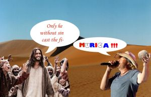Toby Kieth throws rock at Jesus by helpfulme