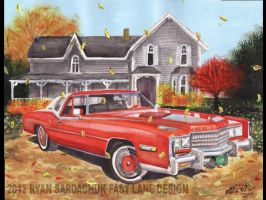1976 Cadillac El Dorado On A Vermont Ranch by FastLaneIllustration