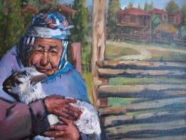 old woman with sheep by fusunyeremyan