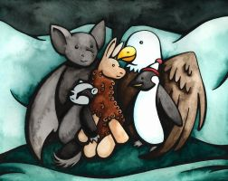 Family in Plush Toy by rachelillustrates