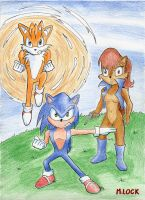 Sonic an Tails DefendingSally by mlock