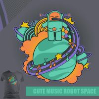 Cute Music Robot Space by perdita00