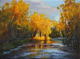 Autumn Evening on Fish Creek Study by artistwilder